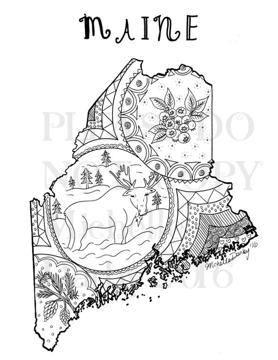 Maine State Map Outline Colouring Page