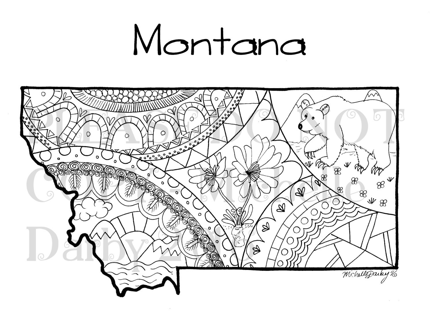Montana map outline colouring page for Montana coloring pages