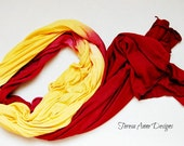 Red and Gold Lightweight Hand Dyed Scarf, Long Scarf, Viscose, Fall Scarf