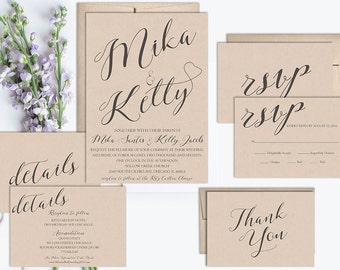Rustic Wedding Invitation Suite Printable, Wedding Invitation Set, Kraft Wedding Invite Template, Vintage Wedding Invitation, Calligraphy