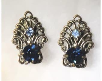 1950s Blue Rhinestone Brass Filigree Scroll Costume Clip On Earrings