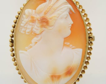 Antique Victorian Cameo Pin Helmut Shell Cameo Brooch Pin 10k to 18k Yellow Gold Dexter View Victorian Pin Shell Cameo Brooch