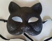 Black Shiny Glitter Kitty Cat Masks. Halloween Party, Mascarade Ball, Party Favors, Party Decor