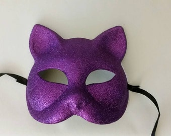 Purple, Pink Glitter Kitty Cat Mask. Halloween Costume or Party Favor.
