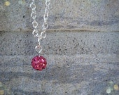 Pink bead necklace // Silver plated short necklace // Short necklace