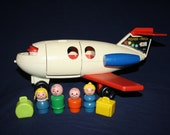 1970 FISHER PRICE Fun JET Airplane 183 Complete with Accessories Little People Luggage
