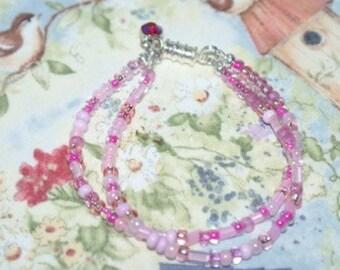 Cute pink seed bead bracelet