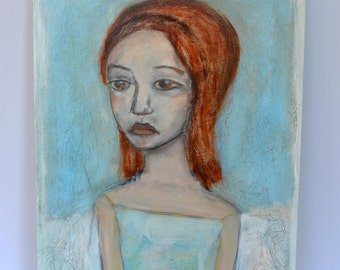 Original Acrylic painting, Wood Cradled Painting, Portrait Painting, Folk Art, Contemporary, Figurative Painting,  Untitled