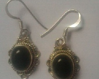 Black Onyx cabachon style sterling silver earrings