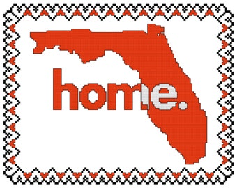 Home is Where the Heart Is - Florida Cross Stitch Pattern