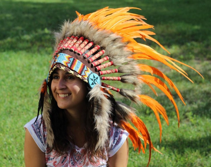 PRICE REDUCED X22 Orange Sunset Feather Headdress. Perfect for halloween!