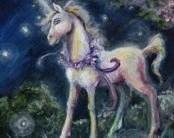 Unicorn Under the Blossoms