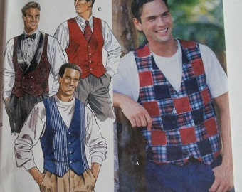 Vintage Simplicity sewing pattern 9098 Men's Lined Vests in sizes 46, 48, 50, 52