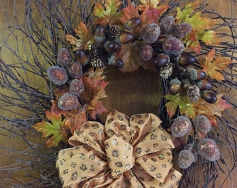 Autumn splendor acorn grapevine wreath
