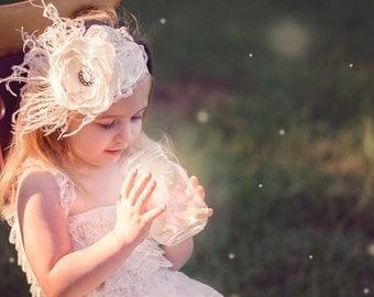 Vintage Ivory Couture Headband, Infant Headband, Toddler Headband, Newborn Headband, Ivory Feather Headband, Bridal Headband, Flower Girl