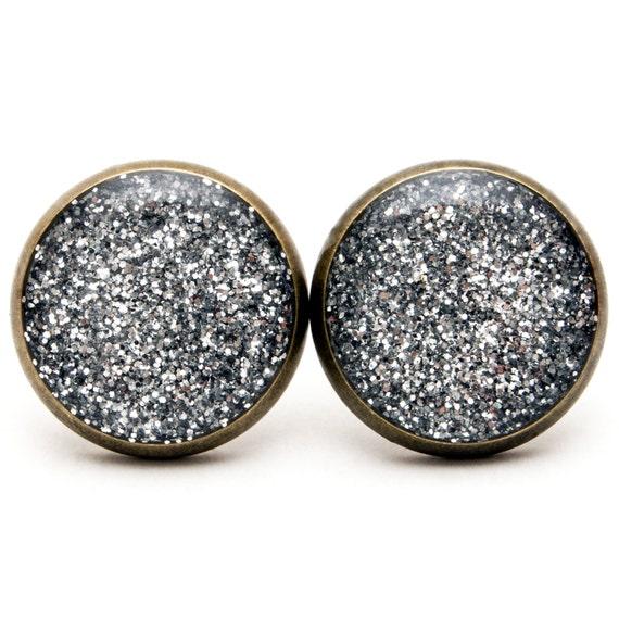 glitter stud earrings silver glitter stud sparkle by