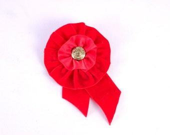 Red Rosette Brooch