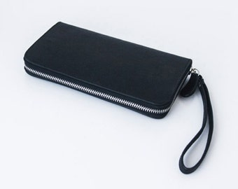 Black and Grey - Genuine all leather zip around wallet - Large