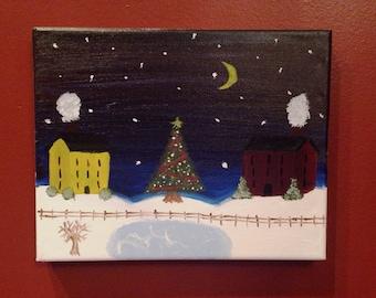 Christmas Village Painting (8x10)