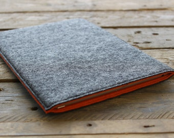 iPad Mini Case / iPad Mini Sleeve / iPad Mini Cover - Mottled Dark Grey Outer and Various Inner Colours - 100% Wool Felt