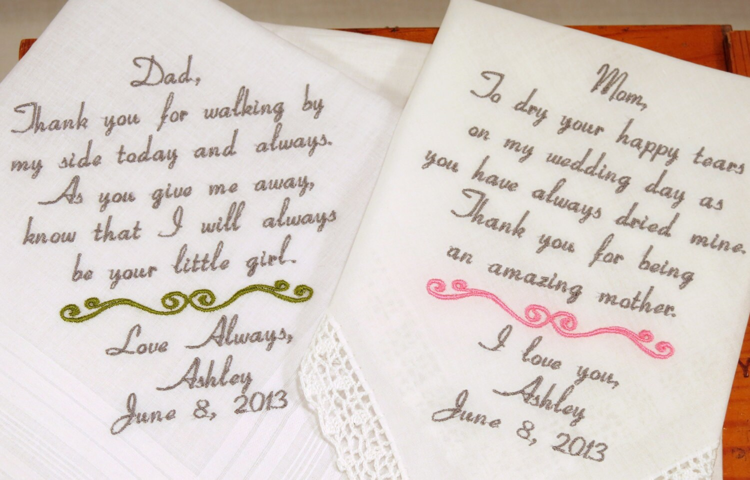Wedding Handkerchiefs For The Family: Embroidered Wedding Handkerchiefs Set Of 2 For Mom And Dad