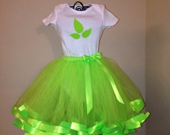 Poison Ivy Costume For Baby/Toddler/Girls, White Onsie/Shirt & Bright Green Tutu Outfit