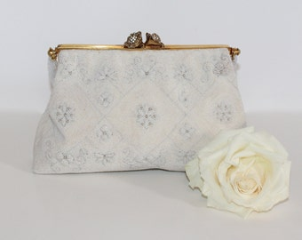 Rhinestone Studded Floral Clasp Makes This French Beaded Vintage Purse Perfect for Weddings and Formal Events