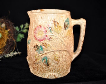 Antique majolica pottery pitcher, Damaged, Large, Majolica pottery, Vintage majolica, leaves and pink flower