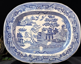 Antique Blue Willow platter Vintage platter, Nicks on Front, Fabulous Blue and White pottery, #1901