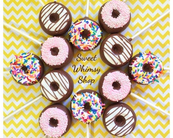 12 Doughnut Cake Pops for breakfast, pajama party, birthday, wedding favor, police or teacher gift, donut, coffee, candy table, sweet shoppe