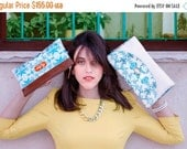 ON SALE Floral purse, brown leather purse, leather clutches, bridesmaid clutch