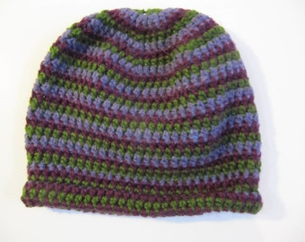 Purple and Green Striped Beanie