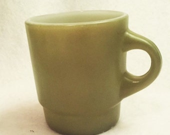 Fire King green mug