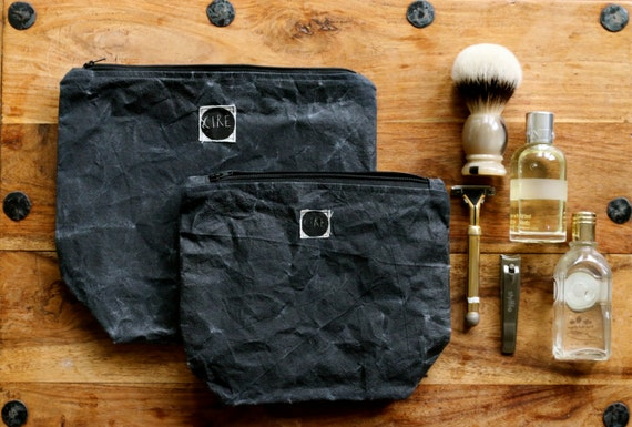 Black Cotton Laundry Bag: Large Waxed Canvas Wash-bag Black Toiletry Accessory For