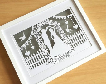 Personalised Wedding/anniversary papercut in a shadow box frame. Makes a great wedding or valentines gift
