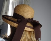 Vintage   Adorable Victorian Style  Country  Straw with Brown Ribbon Shade Hat