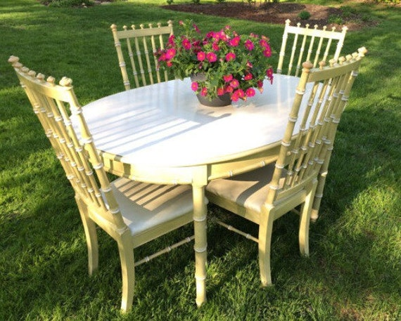 Vintage 1968 Thomasville Faux Bamboo Dining Table By