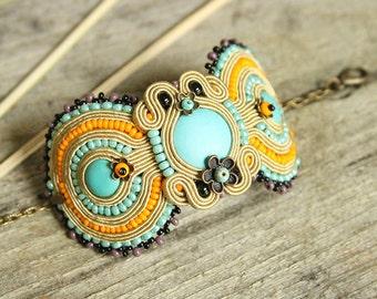 Colorful boho bracelet, soutache bracelet, colorful bracelet, hand embroidered bracelet, beaded bracelet, soutache jewelry, boho jewelry