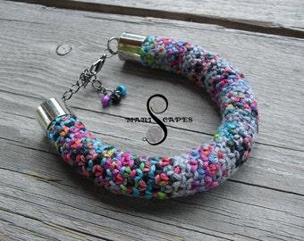 OOAK hand-knitted bracelet / tribal / hippie / bohemian / folk / rope / cotton