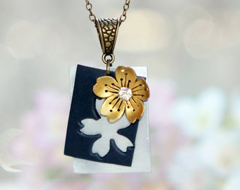 gold cherry blossom necklace ,handmade flowers necklace