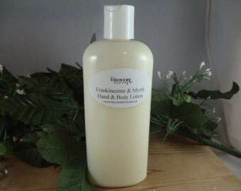Frankincense & Myrrh Essential Oil Scented 8 oz Hand and Body Lotion- Rich and Creamy -Super Moisturizing with Jojoba Oil