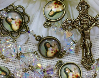 St. Therese Swarovski Crystal Rosary in Bronze