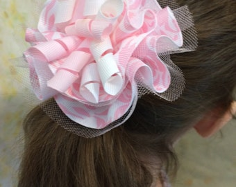 Pink ribbon flower-pink hair bow-corker ribbon-corker hair bow-pink hair accessories-baby hair bow-childs hair bow-photo prop