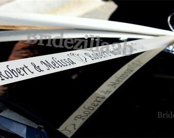 Personalised Ribbon,Wedding Car, Bride Name, Groom name, Wedding Date, Hearts, White Satin Ribbons,