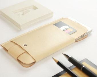 Hülle für iPhone 6+/6S+/7+ aus Leder in Farbe natur [N]