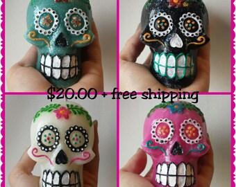 hand painted Calavera sugar skull candle