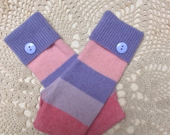 Knit gloves-Upcycled-recycled pinks and purples striped felted lambswool fingerless gloves-made from a sweater