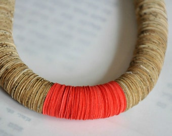 Red paper necklace, Statement necklace, Nacklace made of book paper