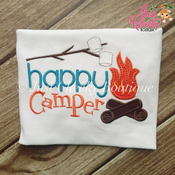 Happy Camper Embroidered Shirt - Girls Camping Shirt - Boys Camping Shirt - Canpfire - S'Mores - Summer