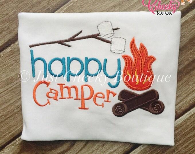 Happy Camper Embroidered Shirt - Girls Camping Shirt - Boys Camping Shirt - Canpfire - S'Mores - Summer